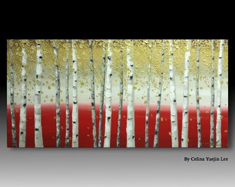 "Original textured acrylic abstract landscape painting modern wall decor 36"" by 18"" inch 'Birch trees in red and gold 01'"