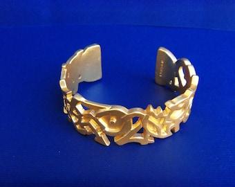 Rochas Pop Art Graffity Gold Cuff, Elegant Mat Gold Bracelet, French Luxury Chick, 80's