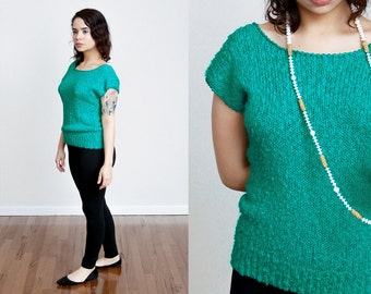 1980s Teal Green Cap Sleeve Knit Blouse - Top - Fitted - Wide Neck - S/M