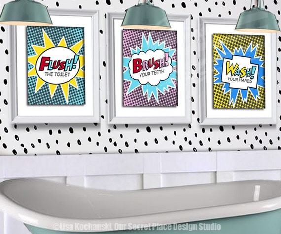 Printable kids bathroom wall decor superhero bathroom decor for Bathroom designs book