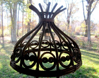 Swag Lamp Wood Vintage Hanging Chandelier Lighting DIY Cabin Sun Room