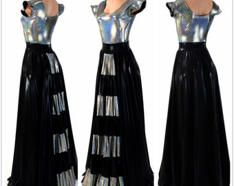 "Reversible Silver Holographic & Black Mystique Flip Sleeve ""Isabel"" Gown 154234"