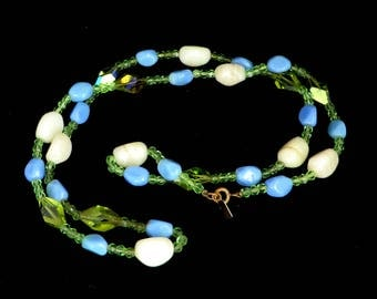 Hattie Carnegie Glass Bead Necklace, Vintage Blue, Green, Cream Art Glass Necklace, 29 inches