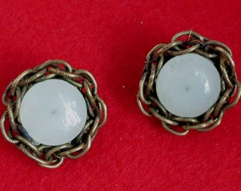 Miriam Haskell Braided Brass and Glass Button Earrings, Vintage Clip-ons