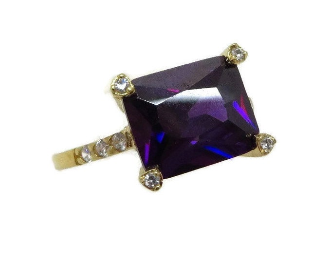 Amethyst and Topaz Gold Plated Ring, Vintage Sterling Silver Engagement Ring, Size 8