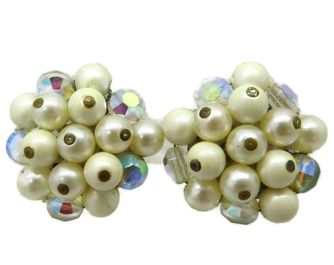 White Bead Cluster Earrings - Vintage Signed Laguna Faux Pearl & Rhinestone Clip-on Earrings, Gift Idea, Gift Boxed