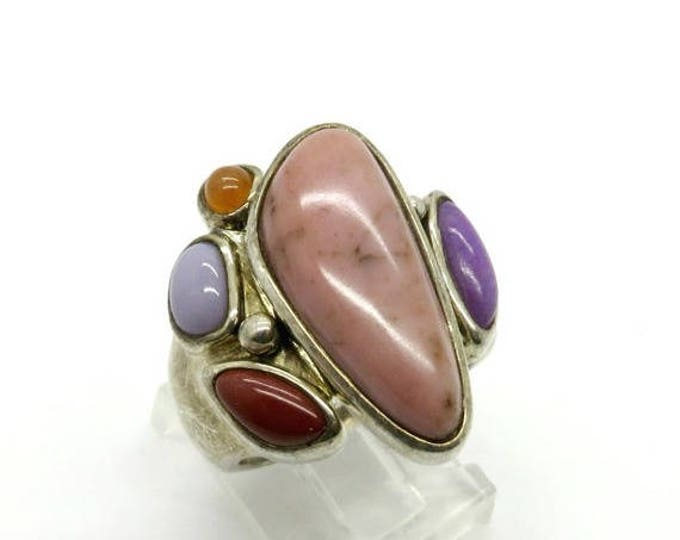 ON SALE! Rhodonite and Jasper Sterling Silver Ring, Vintage Statement Ring, Size 7