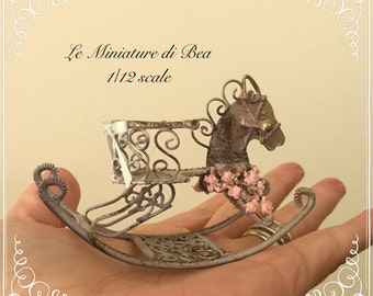 1:12 rocking horse toy made in metal victorian style artistic hand made dollshouse miniatures