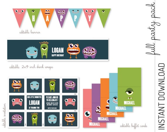Monster Invitation & 10 Decorations INSTANT DOWNLOAD