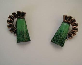 Vintage Matisse Green Enamel and Copper Clip On Earrings From the 1950's