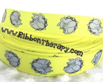 3 yards  Bulldogs - YELLOW - 7/8 inch - Printed Grosgrain Ribbon