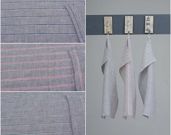 SUMMER SALE Wholesale 10 x Linen Tea Towels Blue / Green / Pink Striped / New Spring Collection