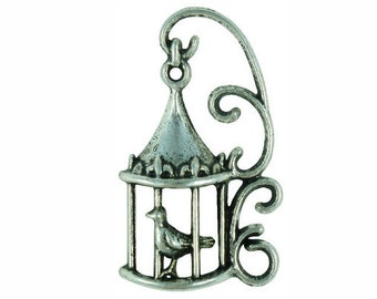 8 pcs - Ornate Silver Bird Cage Charm 34x20mm - Ships from Texas by TIJC - SP0260