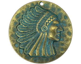 1 Gold Indian Chief Charm Pendant SP1483