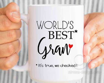 World's best Gran mug, mothers day gift for grandma, grandma mug, grandmother gift, new grandma ,gifts for grandma, grandma to be MU550