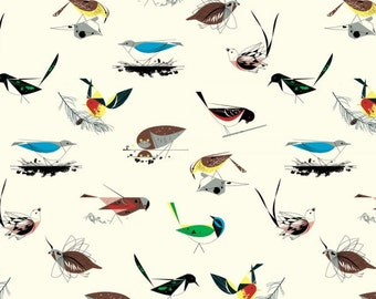 Western Birds Main (Organic Poplin Fabric) by Charley Harper from the Western Birds collection for Birch Fabrics