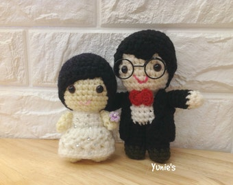 Amigurumi Wedding Dolls cake topper wedding crochet, wedding gift