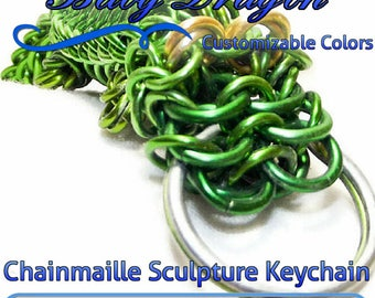 Custom Baby Dragon Keychain | Choose your custom colors | Chainmaille Sculpture