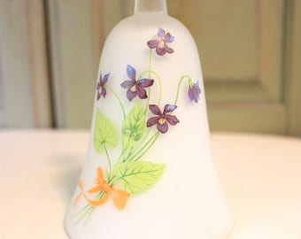 Vintage Bell Satin Glass Bell Frosted Bell with Purple Violets Vintage Ringing Bell Vintage Hand Bell Floral Flowers Gardening Gift Decor