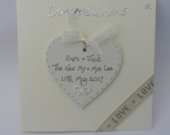 Personalised Wedding Card with detachable heart keepsake - two gifts in one!