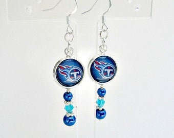 Tennessee Titans, Titans Earrings,Titans Jewelry, Titans Football, Sports Jewelry, Football Earrings, Titans Accessories, Football Mom