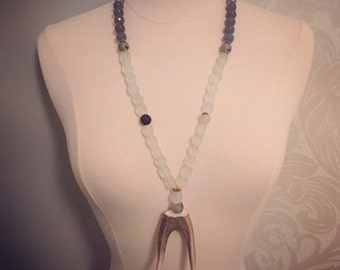 Antler Necklace with Glass beads