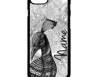 Peacock bird flower floral cute pretty mandala print graphic personalised name cover for iphone 4 4s 5 5s 5c 6 6s 7 plus SE phone case