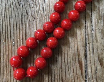 Polished Natural Red Bamboo Coral Gemstone Beads - Center Drilled - Red - Size 6mm - 10 Beads per order