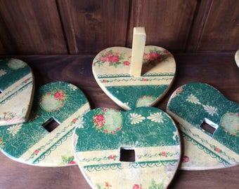 Coaster set Mango wood handfinished decoupage vintage style, wedding gift, housewarming gift, gift for her