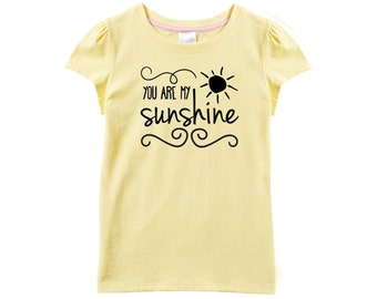 You Are My Sunshine T-Shirt For Girls, Inspirational TShirt For Little Ladies With A Sunny Disposition, Yellow Short Sleeve Shirt For Girls