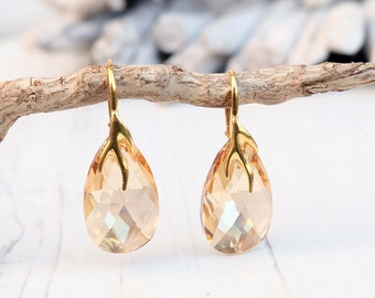24k Gold Plated Swarovski Earrings-Champagne Gold Teardrop Earrings-Swarovski Crystal Jewellery-Wedding Bridesmaids Dangle Drop Earrings