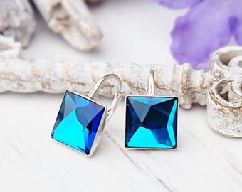 Sterling Silver earrings Small Swarovski crystals earrings Casual everyday blue crystal earrings Sky blue dangle minimalist square earrings