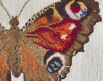 Vintage Butterfly Needlepoint Wall Hanging