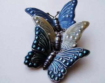 Vintage Triple Butterfly Tin Hat/Coat Pin