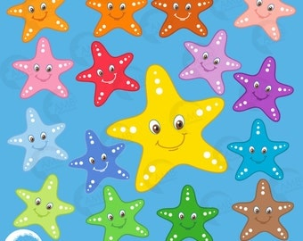 Starfish Clipart, Faces Emoji Clipart, Starfish Faces Clip Art, Under the Sea Clipart, Commercial Use, AMB-437