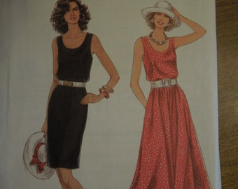 Simplicity 9022, sizes 8-18, dress with full or slim skirt, UNCUT sewing pattern, craft supplies