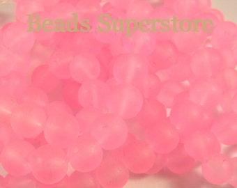 SALE CLOSEOUT 10 mm Pink Frosted Round Glass Bead - 24 pcs