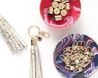 Gold Dots Leather Tassel Keychain