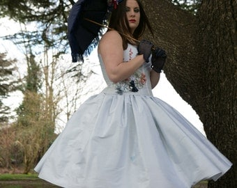 SALE....Alice in wonderland short pale blue wedding, prom costume dress. Steampunk, gothic. Blue, white, red, silk dress