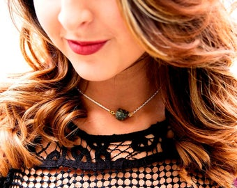 Pyrite Rock & Distressed White Choker Necklace