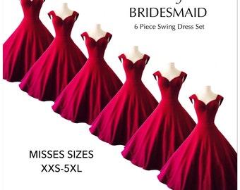 6 Mid Calf Length Burgundy BRIDESMAID DRESSES, Merlot Wine Swing Dresses with Optional Petticoat Hardley Dangerous Couture