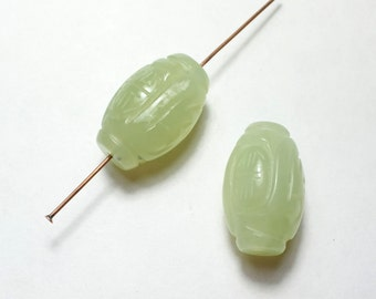 Carved Jade Beads  - Gemstone Beads - carved Barrel Beads - green Jade Beads - 23x15mm - 2 Beads