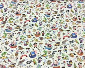 Patchwork Quilting Fabric Nutex Treasure Island Allover Pirate Cream 88600