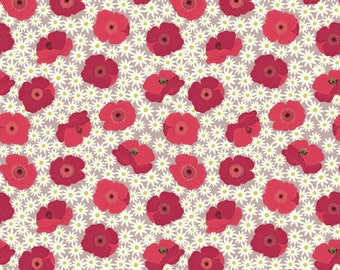 Lewis & Irene Grandma's Garden Patchwork Quilting Fabric A197.2 Red Poppy on natural
