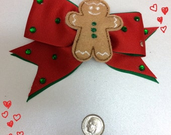 Small ribbon gingerbread bow with rhinestones