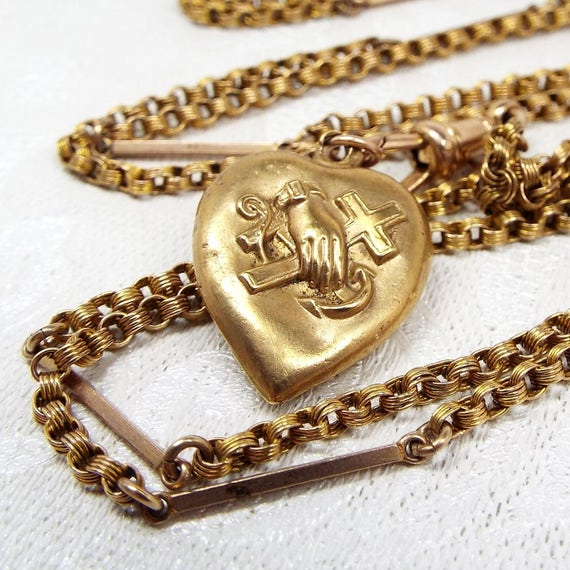 Antique / Victorian Pinchbeck Guard Muff Chain Albert Clasp and Heart Charm Pendant Necklace