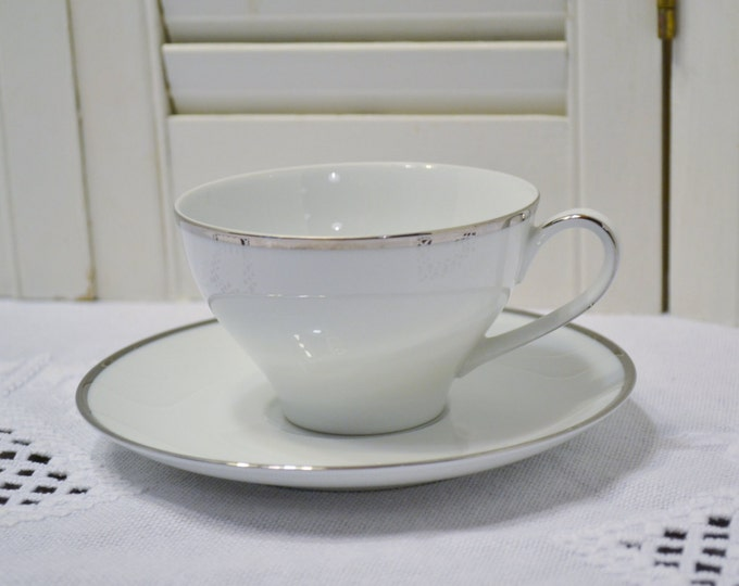 Vintage Kenmark Patrician Teacup and Saucer 6894 White Platinum Replacement  Bridal Baby Shower  PanchosPorch