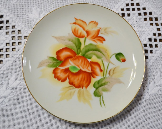 Vintage Decorative Plate Orange Green Floral Gold Rim Wall Decor Japan PanchosPorch