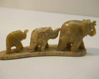 Three Stone Hand Carved Bridge of Elephants Figures Figurine Statues #030