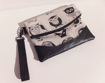 Foldover Clutch, Purse,  Wristlet Bag, Owl Print fabric, Faux Leather, Handmade, Gift for Her, Swoon Heidi
